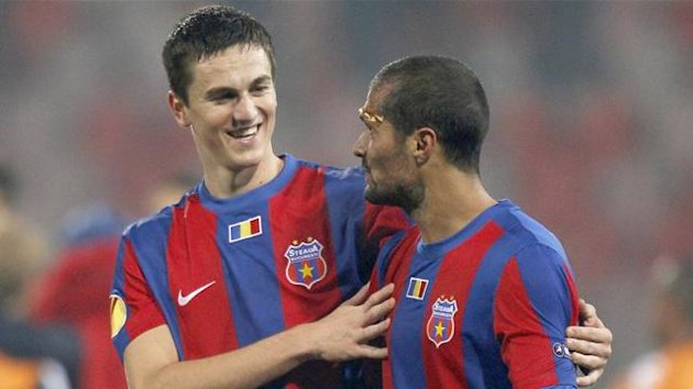 Florin Gardos and Geraldo Alves of Steaua Bucharest