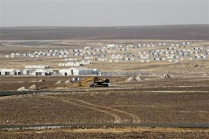 A general view of the Azraq Syrian Refugee Camp, the third of its kind, under construction near Al Azraq