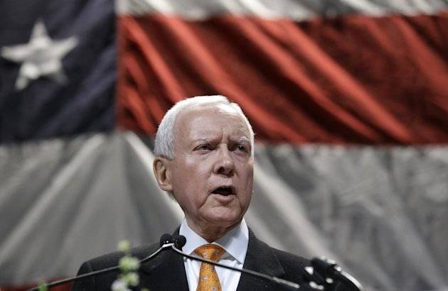 U.S. Sen. Orrin Hatch addresses the Utah Republican Party's annual organizing convention Saturday, May 18, 2013, in Sandy, Utah. Hatch says staffers at the Internal Revenue Service, which recently apo