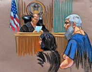 In this courtroom sketch, radical Islamist preacher Abu Hamza al-Masri (R) appears before before US Magistrate Judge Frank Maas (L) in Federal Court in New York after being extradited from Britain. Maas ordered that the Hamza be kept in detention, after a brief court hearing Saturday