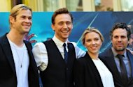 (L to R) Chris Hemsworth, Tom Hiddleston, Scarlett Johansson and Mark Ruffalo pose during a photocall for 'The Avengers' in Rome in April 2012. The film smashed through the $1 billion mark in global box office earnings, officials figures showed Monday, after the record-breaking movie slayed its rivals again on its second weekend