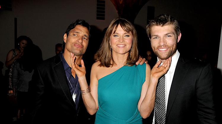 "Manu Bennett, Lucy Lawless, and Liam McIntyre attends the Starz Original Series ""Spartacus: Vengeance"" Premiere Event at ArcLight Cinemas Cinerama Dome on January 18, 2012 in Hollywood, California."