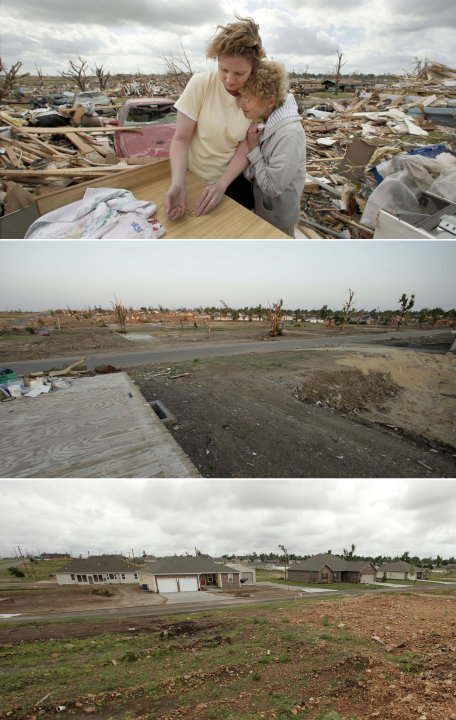 This three-photo combo shows a scene taken on May 25, 2011, top, July 20, 2011, center, and May 7, 2012, bottom, shows progress made in Joplin, Mo. in the year after an EF-5 tornado destroyed a large