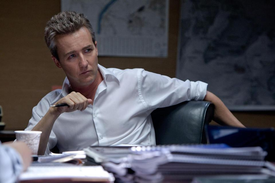 "This film image released by Universal Pictures shows Edward Norton as Ret. Col. Eric Byer in a scene from ""The Bourne Legacy."" (AP Photo/Universal Pictures, Mary Cybulski)"