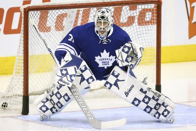 Toronto's goaltender is wearing some pretty fly checkered Maple Leafs pads