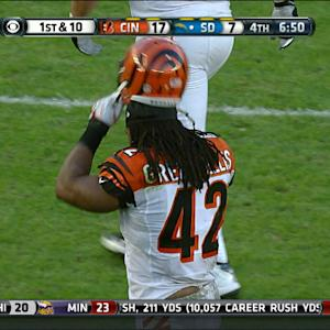 Cincinnati Bengals running back Benjarvus Green-Ellis fumble
