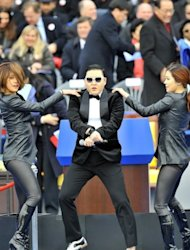"Psy performs his global hit ""Gangnam Style"" at Park Geun-Hye's two-and-a-half hour inauguration ceremony in Seoul on February 25, 2013. Park became South Korea's first female president Monday"