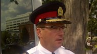 Niagara Regional Police Service Chief Jeff McGuire, seen here, told CBC News an officer has been suspended with pay pending an investigation by the force's professional standards groups.