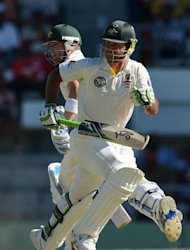 Australia's Ricky Ponting (R) and Michael Clarke during the third Test against the West Indies on April 25. Ponting has become the second highest scorer in test cricket but his place has been increasingly under scrutiny