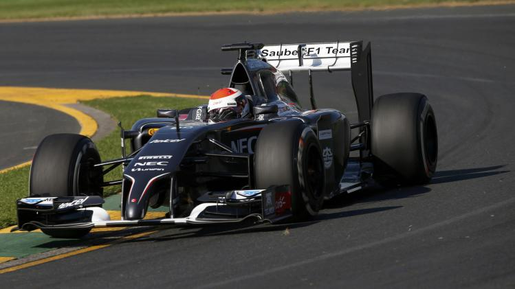 Sauber Formula One driver Sutil of Germany takes a corner during the second practice session of the Australian F1 Grand Prix in Melbourne
