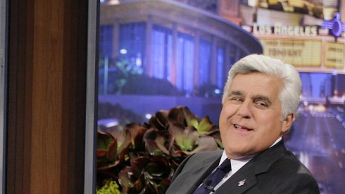 """This Sept. 21, 2012 photo released by NBC shows Jay Leno, host of """"The Tonight Show with Jay Leno,"""" on the set in Burbank, Calif. As Jay Leno lobs potshots at ratings-challenged NBC in his """"Tonight Show"""" monologues, speculation is swirling the network is taking steps to replace the host with Jimmy Fallon next year and move the show from Burbank to New York.  NBC confirmed Wednesday, March 20, it's creating a new studio for Fallon in New York, where he hosts """"Late Night."""" But the network did not comment on a report that the digs at its Rockefeller Plaza headquarters may become home to a transplanted, Fallon-hosted """"Tonight Show.""""  (AP Photo/NBC, Paul Drinkwater)"""
