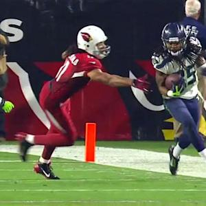 Arizona Cardinals quarterback Ryan Lindley intercepted by Seattle Seahawks cornerback Richard Sherman