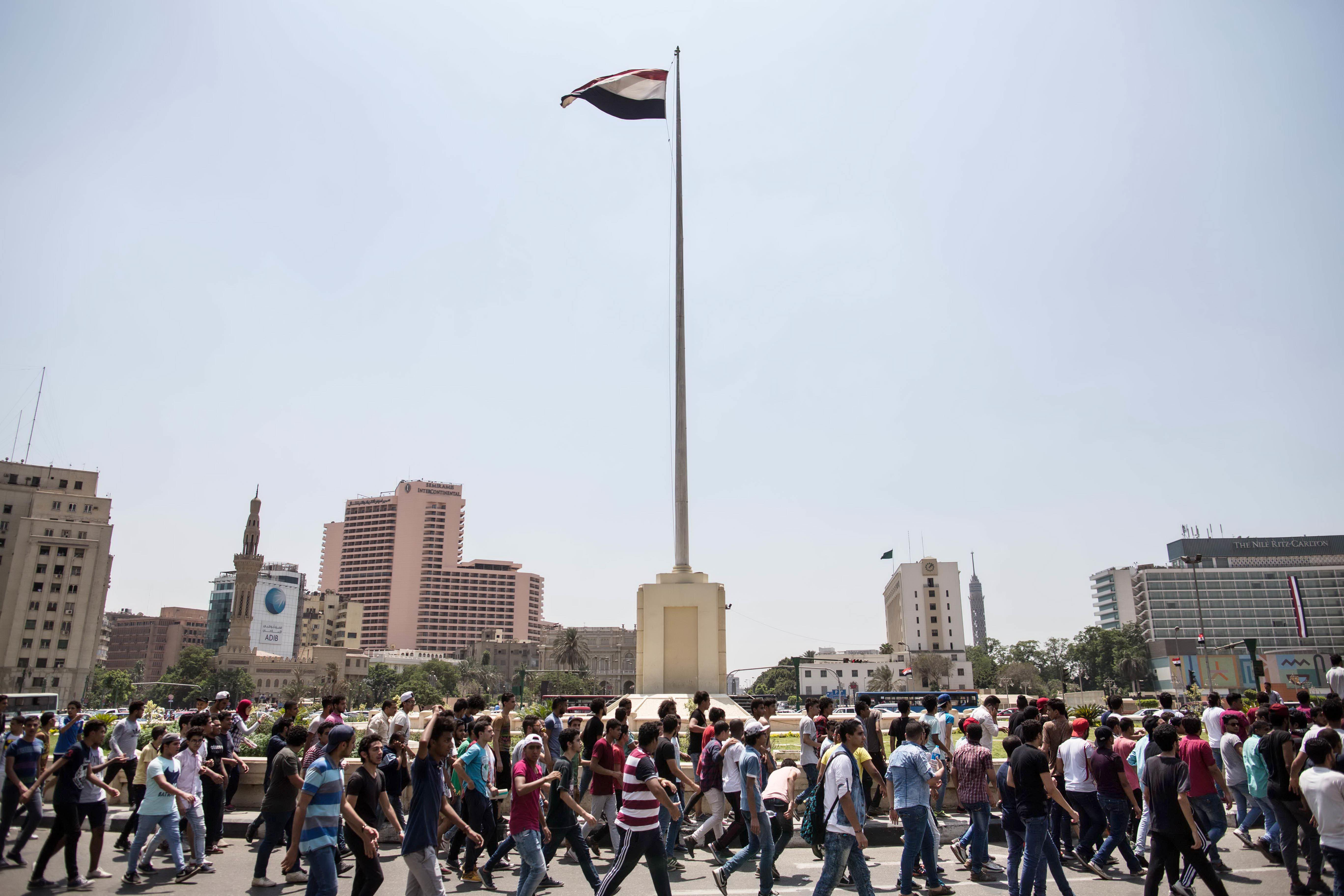 Egyptian students stage rare protest in Tahrir Square