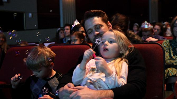 "Jason Priestley, center, and his children Dashiell Priestley, left, and Ava Priestley attend The Hub TV Network's ""My Little Pony Friendship is Magic"" Coronation Concert at the Brentwood Theatre on Saturday, Feb. 9, 2013, in Los Angeles in support of Children's Hospital LA. (Photo by Matt Sayles/Invision for The Hub/AP Images)"