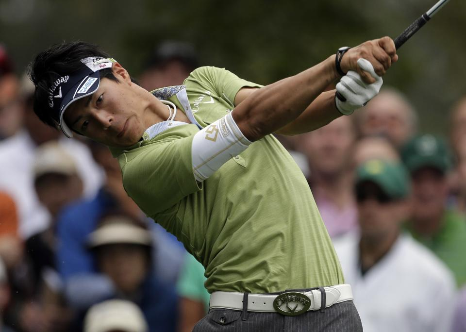 Ryo Ishikawa, of Japan, tees off on the fourth hole during the first round of the Masters golf tournament Thursday, April 11, 2013, in Augusta, Ga. (AP Photo/Charlie Riedel)