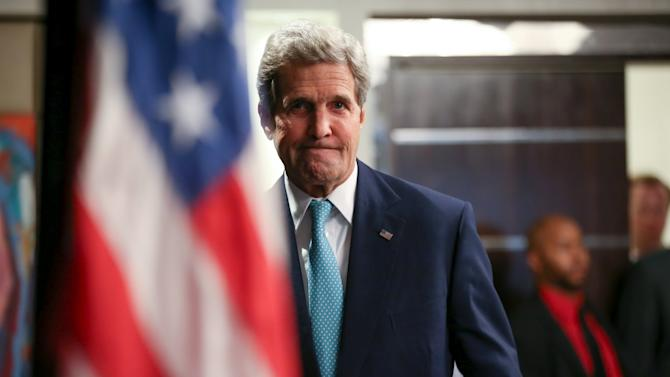 US Secretary of State John Kerry arrives to speak at a news conference at the Nairobi Sankara Hotel