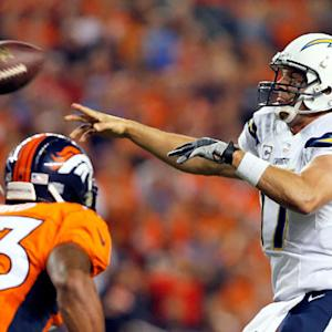 San Diego Chargers quarterback Philip Rivers intercepted by Denver Broncos cornerback Chris Harris