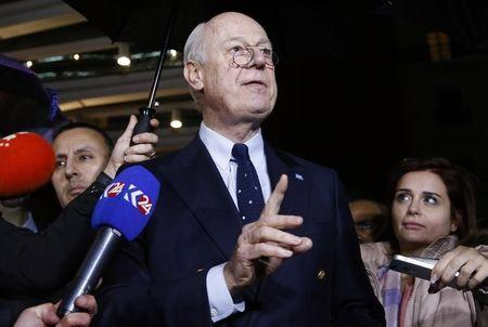 UN mediator for Syria Staffan de Mistura gestures during a news conference on the Syrian peace talks outside President Wilson hotel in Geneva