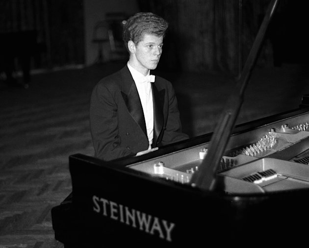 FILE - This April 11, 1958 file photo shows pianist Van Cliburn performing in final round of Tchaikovsky International Piano &amp; Violin competition in Moscow.  Cliburn, the internationally celebrated pi