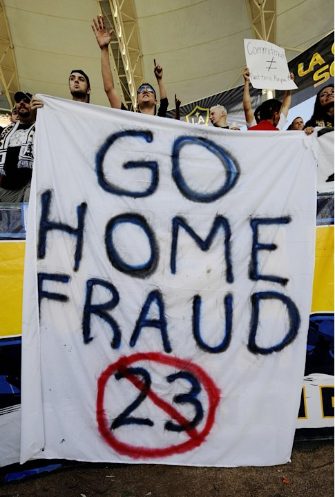 CARSON, CA - JULY 19: Los Angeles Galaxy supporters hold up signs for David Beckham #23 before the MLS match against AC Milan at The Home Depot Center on July 19, 2009 in Carson, California. (Photo by
