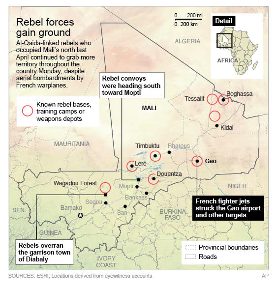 Map provides an update of events in Mali