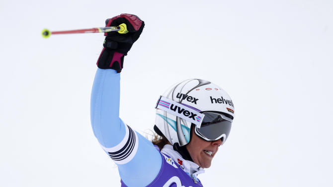 Rebensburg of Germany reacts after finishing sixth in the World Cup Soelden Women's Giant Slalom race on the Rettenbach glacier in the Tyrolean ski resort of Soelden