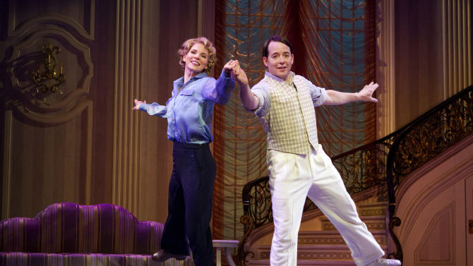 "FILE - In this publicity photo provided by Boneau/Bryan-Brown, Kelli O'Hara, left, and Matthew Broderick perform in the new musical comedy ""Nice Work If You Can Get It"" at Broadway's Imperial Theatre in New York. Producers of ""Nice Work If You Can Get It"" said Wednesday that Broderick has extended his run to June 15, but Kelli O'Hara will play her final performance on March 31. She'll be replaced by Tony Award nominee Jessie Mueller starting April 2. (AP Photo/Boneau/Bryan-Brown, Joan Marcus)"
