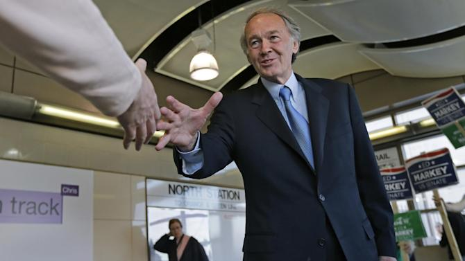 Democratic U.S. Senate hopeful, Mass. Rep. Edward Markey, D-Malden, shakes hands with a commuter while campaigning at North Station in Boston, Monday, April 29, 2013. Markey and U.S. Rep. Stephen Lynch, D-Boston, vying for their party's nomination in the special April 30, 2013 primary. (AP Photo/Charles Krupa)