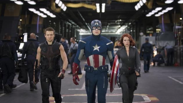 Jeremy Renner, Chris Evans and Scarlett Johansson in 'The Avengers' -- Paramount
