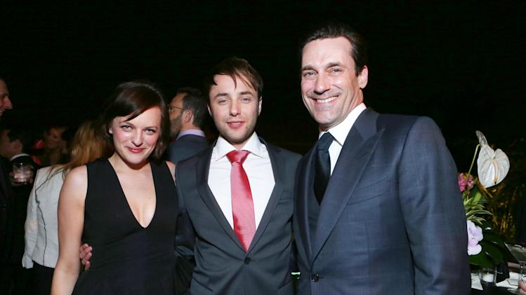 IMAGE DISTRIBUTED FOR AMC - From left, Elisabeth Moss, Vincent Kartheiser and Jon Hamm attend the after party for the AMC Season 6 Premiere of Mad Men, on Wednesday, March, 20, 2013 in Los Angeles. (Photo by Alexandra Wyman/Invision for AMC/AP Images)