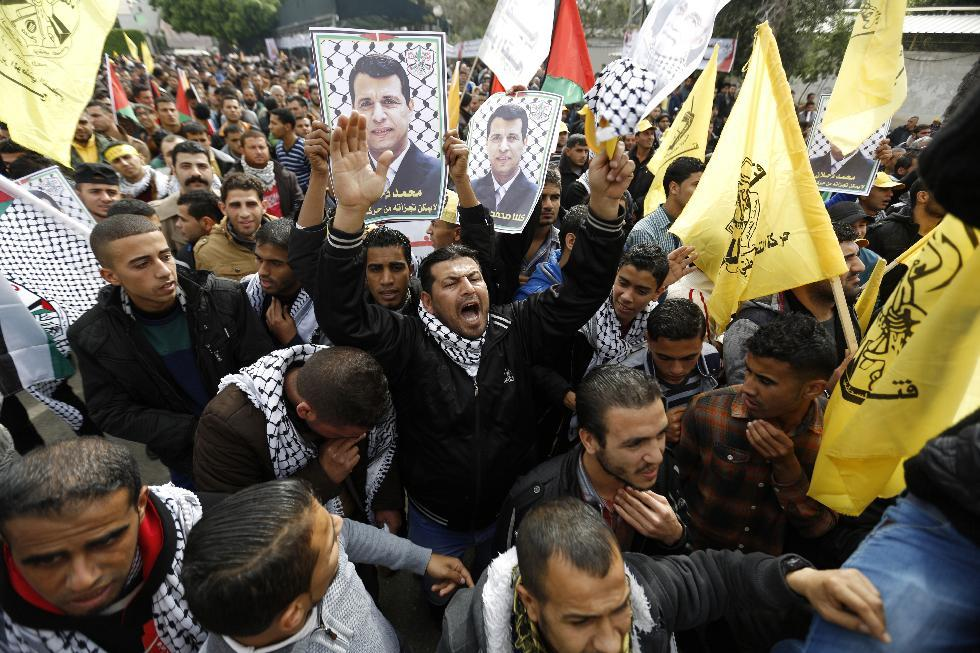 Gazans rally for ex-strongman as West Bank trial opens