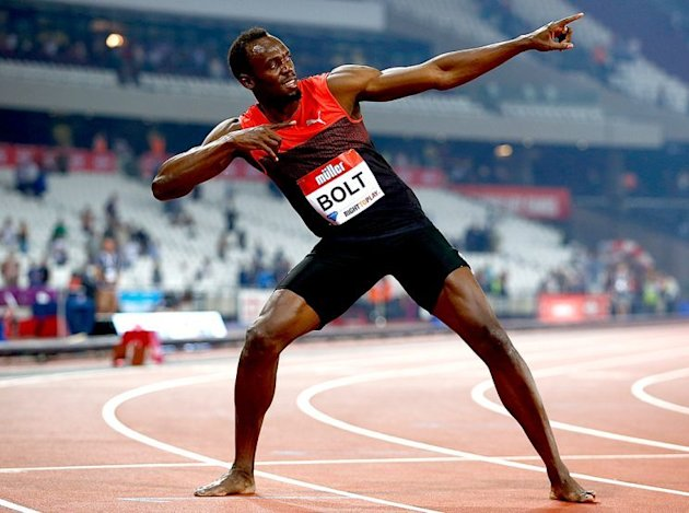 LONDON, ENGLAND - JULY 22: Usain Bolt of Jamaica celebrates after winning the mens 200m during Day One of the Muller Anniversary Games at The Stadium ...