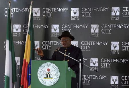 Nigeria's President Goodluck Jonathan speaks during the groundbreaking ceremony of the Centenary City project in Abuja