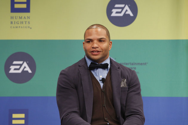 IMAGE DISTRIBUTED FOR EA - NFL linebacker and Super Bowl Champion Brendon Ayanbadejo of the Baltimore Ravens speaks at Electronic Arts'  LGBT Full Spectrum Event on Thursday, March, 7, 2013 in New Yor