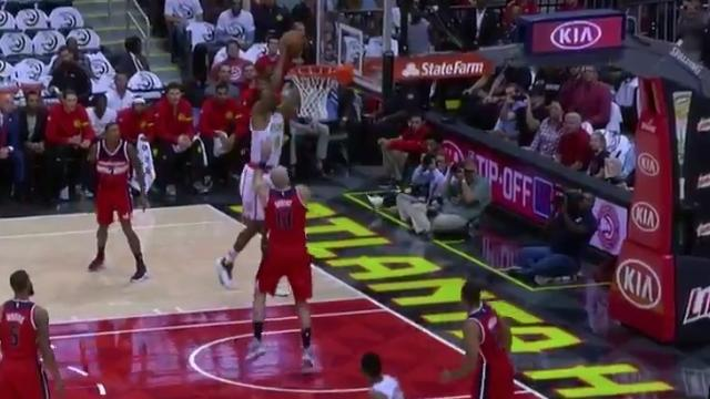 Dwight Howard's First Bucket With The Hawks Was This Ferocious Put Back Slam