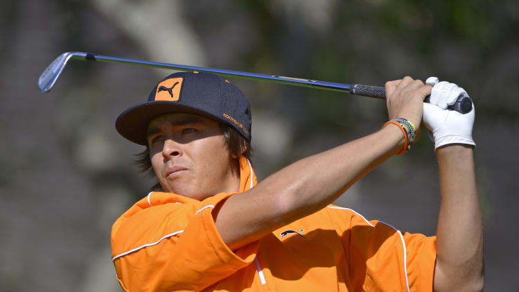 Rickie Fowler hits a shot from the fifth tee during the final round of the Arnold Palmer Invitational golf tournament, Monday, March 25, 2013, in Orlando, Fla. (AP Photo/Phelan M. Ebenhack)
