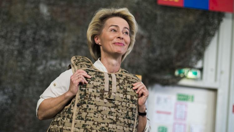 German Defence Minister von der Leyen wears body armour at Camp Marmal outside Mazar-i-Sharif