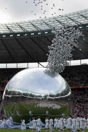 Soccer ball shaped balloons are released during the opening ceremony prior to the group A match between Germany and Canada at the Women's Soccer World Cup in Berlin, Germany, Sunday, June 26, 2011. (AP Photo/Gero Breloer)