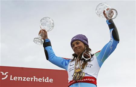 Maze of Slovenia lifts the women's overall and Giant Slalom World Cup trophies at the Alpine Skiing World Cup finals in Lenzerheide