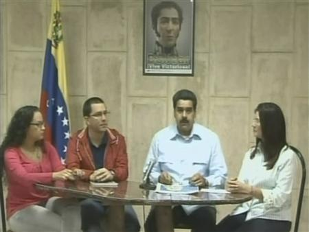 Venezuela's Vice President Nicolas Maduro talks to the media during a news conference in Havana