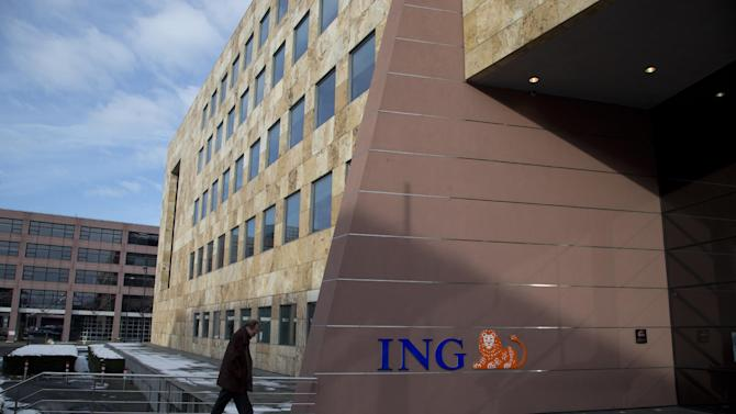 A man enters the ING Treasury Center in Amsterdam, Monday Feb. 11, 2013. ING will present it annual results on Wednesday Feb. 13, 2012. (AP Photo/Peter Dejong)
