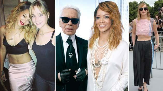 Rihanna and Jennifer, Rihanna with Karl Lagerfeld, Jennifer Lawrence  -- Getty ImagesRihanna/Instagram