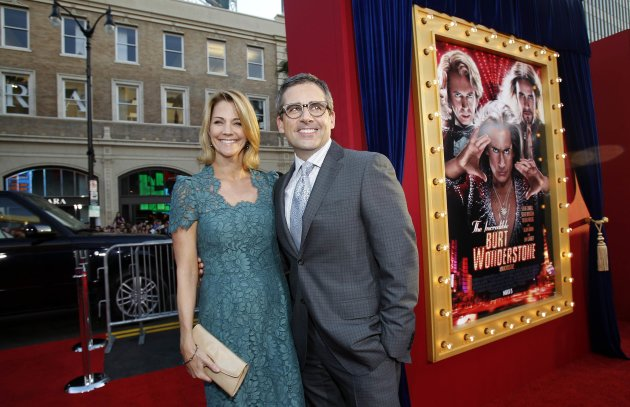 "Carell and his wife Nancy pose at the premiere of ""The Incredible Burt Wonderstone"" in Hollywood"