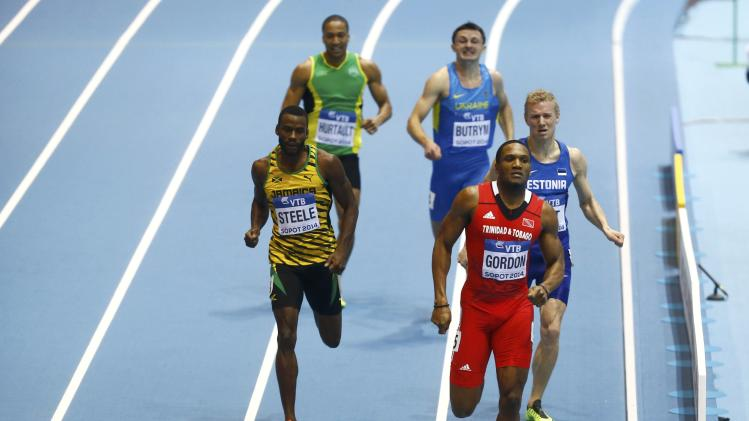 Trinidad and Tobago's Gordon leads in their men's 400m heat at world indoor athletics championships in Sopot