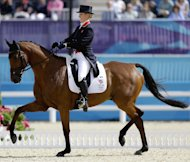 Zara Phillips, of Great Britain, competes with her horse High Kingdom, in the equestrian eventing dressage phase at the 2012 Summer Olympics, Sunday, July 29, 2012, in London. (AP Photo/David Goldman)