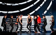 South Korean boy group Super Junior performs during the 27th Golden Disk Awards in Sepang, Malaysia, Tuesday, Jan. 15, 2013. (AP Photo/Lai Seng Sin)