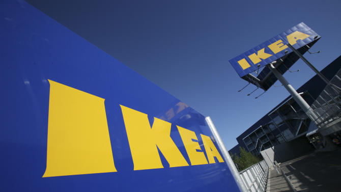 In this photo taken on June 18, 2008, the IKEA logo is shown on the side of the warehouse-sized store during the grand opening of New York City's first IKEA in the Red Hook section of Brooklyn. The Swedish retailer has applied to invest a total of Euro 1.5 billion ($1.2 billion) to open 25 stores in India, India's Commerce Ministry Anand Sharma said Friday, June 22, 2012. (AP Photo/Mark Lennihan)