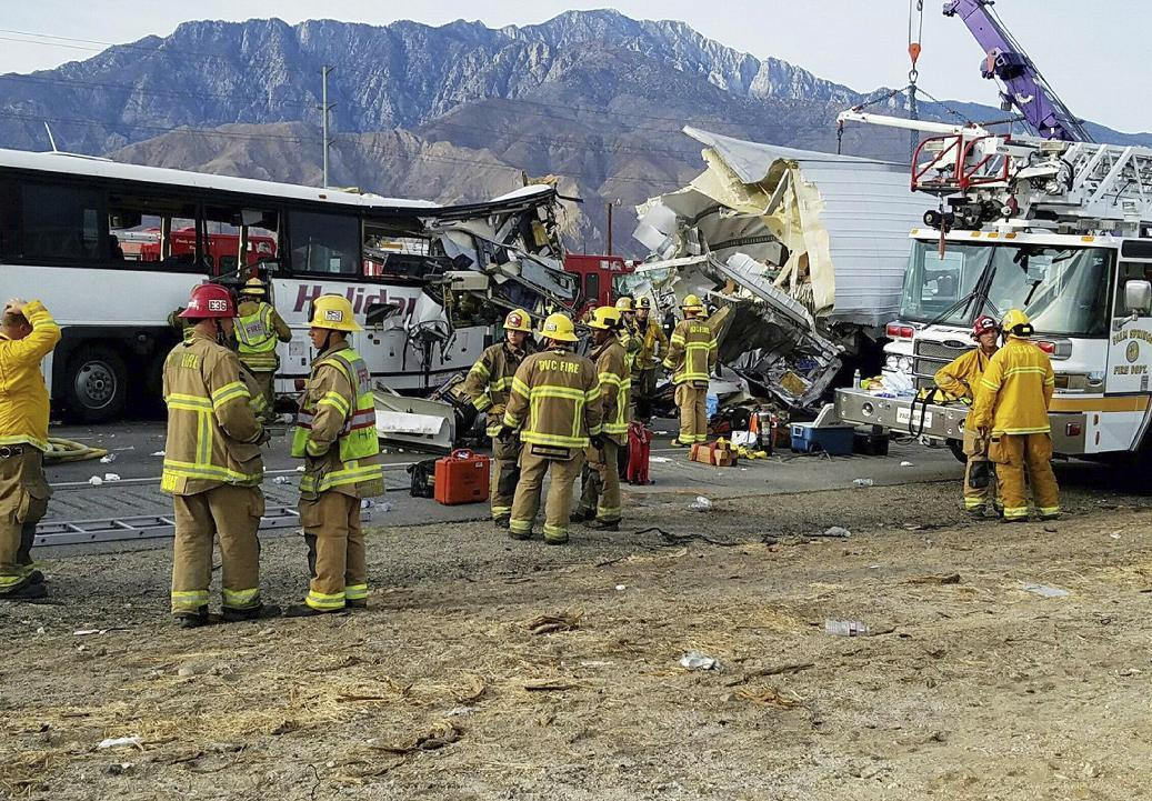 Tour bus, semi-truck crash in California, killing at least 7