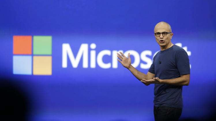 FILE - In this April 2, 2014 file photo, Microsoft CEO Satya Nadella gestures during the keynote address of the Build Conference in San Francisco. Microsoft reports quarterly earnings on Thursday, April 24, 2014. (AP Photo/Eric Risberg, File)