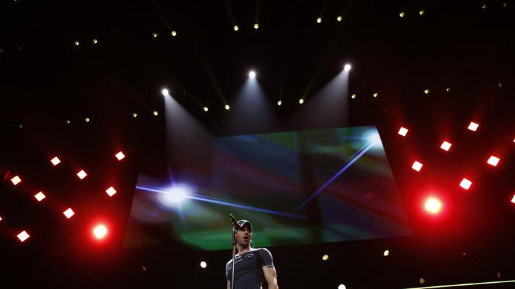 Enrique Iglesias performs during the KISS FM Jingle Ball in Chicago, Illinois